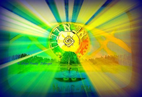 אנא בכוח = הונא ב קו  ANA BECHOAH = HUNAB KU התפילה העוצמיתית: אנא בכוח, היא תפילה המחברת אל לב הבריאה, אל העין, אל מרכז הגלאקסיה, אל לב עץ החיים שבנו ובבריאה כולה.  זהו גם ההונב קו, האלוהות על פי תרבות המאיה. הכל אחד.