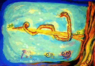"""נחש חש חשק. הנחש חש דרך כל גופו, את הדבר שסביבו הוא """"מתנחש"""". נחש = משיח = 358.  גופו, תנועתו ומהותו יוצרים את שמו.  משמעות השם במהות הצורה.  האם ננחש, מה החיבורים בין הצפנים: נחש - חש - נחש נחושת - נחש חשן - נחש = משיח. נחש הקונדליני, שומר אבני החושן. נחש = חשן.  נחש חושק, נושק לאבני החושן."""